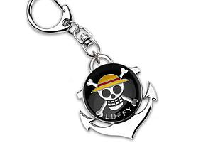 One Piece Keychain Luffy Skull Logo Black (Spinning)