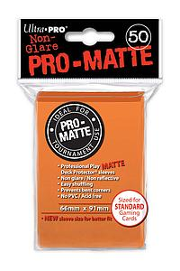 Non-Glare Pro-Matte: Orange Standard Card Sleeves (66mm x 91mm)