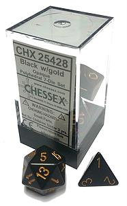 Dice 7-Piece Polyhedral Set - Opaque Black w/Gold