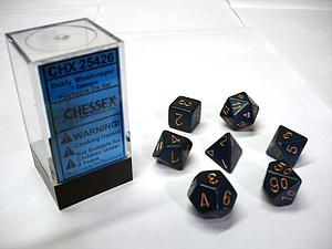 Dice 7-Piece Polyhedral Set - Opaque Dusty Blue/Copper