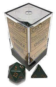 Dice 7-Piece Polyhedral Set - Opaque Dusty Green /Copper