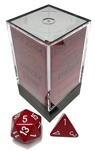 Dice 7-Piece Polyhedral Set - Opaque Red w/White