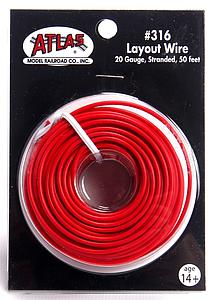 50' Red 20 Gauge Stranded Layout Wire (316)