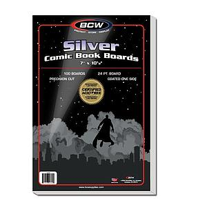 "100 Comic Book Back Boards (Silver) 7"" x 10.5"""