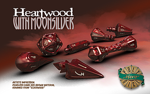 PolyHero Dice Wizard Set: Heartwood with Moonsilver