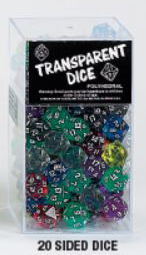 Transparent Polyhedral D20 Dice 25 Assorted Bag