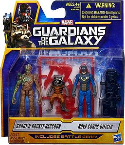 Marvel Guardians of the Galaxy 3 Pack: Groot, Rocket Raccoon, & Nova Corps Officer