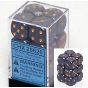 Dice 12D6 Set - Dusty Blue w/Gold