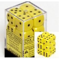 Dice 12D6 Set - Yellow w/Black