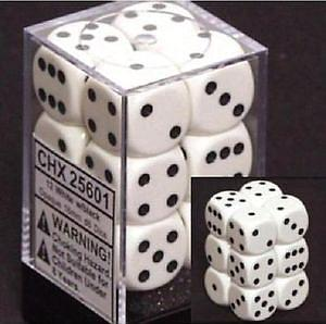 Dice 12D6 Set - White w/Black