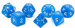Opaque Jumbo 7-Dice Set: Blue & White