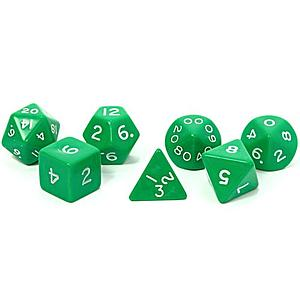 Opaque Jumbo 7-Dice Set: Green & White