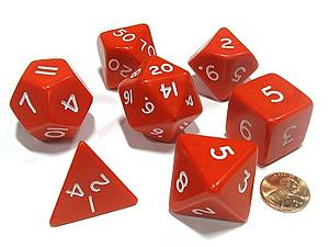 Opaque Jumbo 7-Die Set: Red & White