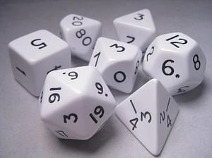 Dice 7-Piece Opaque Jumbo White/Black Set