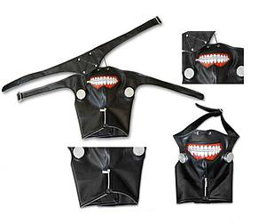 Tokyo Ghoul Cosplay Prop Mask with Zipper, Canisters, Neck-cover and Eyepatch