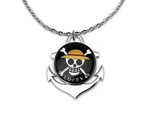 One Piece Necklace Luffy Skull Logo Black (Rotate)