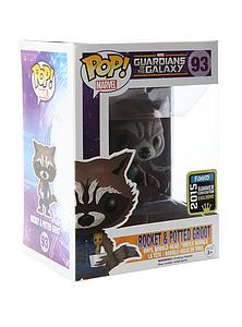 Pop! Marvel Guardians of the Galaxy Vinyl Bobble-Head Rocket & Potted Groot #93 2015 Summer Convention Exclusive