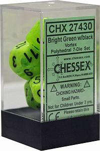 Dice 7-Piece Polyhedral Set - Vortex Bright Green w/black