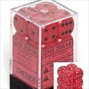 Dice 12D6 Set - Opaque Red w/black Dice Block