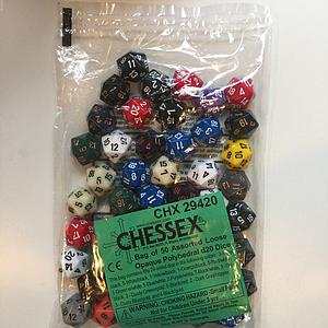 Opaque Polyhedral D20 Dice 50 Assorted Loose