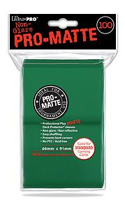 Non-Glare Pro-Matte: Green Standard Card Sleeves (66mm x 91mm)