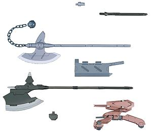 Gundam High Grade Iron-Blooded Arms 1/144 Scale Model Kit Accessories: #003 Mobile Suit Option Set 3 & Gjallarhorn Mobile Worker