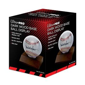 Baseball Dark Wood Display