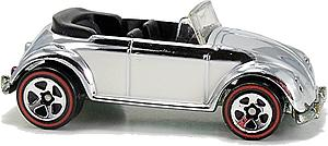 Hot Wheels Classics Series 2 Cars Die-Cast: VW Bug Convertible (Chrome)
