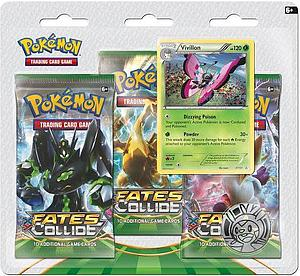 Pokemon Trading Card Game: XY10 Fates Collide 3-Pack Blister (Vivillon)