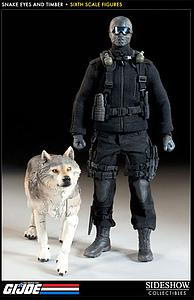 "Sideshow Collectibles G.I. Joe A Real American Hero 12"" Doll Figure - Snake Eyes & Timber"