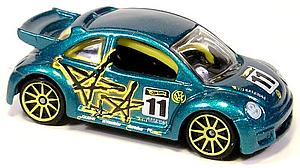 Hot Wheels Cars Die-Cast: Volkswagen New Beetle Cup Pop-Offs (Yellow Rim)
