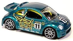 Hot Wheels Cars Die-Cast: Volkswagen New Beetle Cup Pop-Offs (Silver Rim)