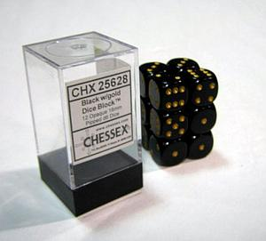 Dice 12D6 Set - Opaque Black w/Gold