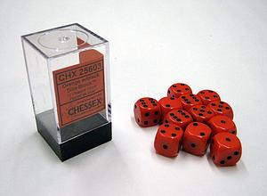 Dice 12D6 Set - Opaque Orange w/Black