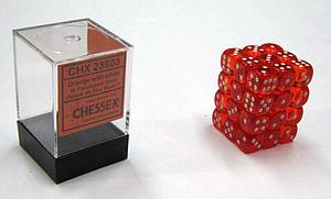 Dice 36D6 Set - Translucent Orange w/White