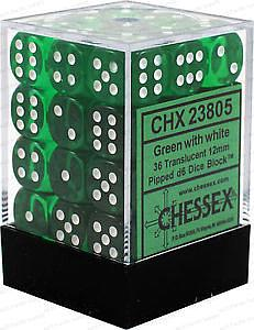 Dice 36D6 Set - Translucent Green w/White