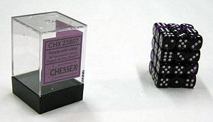 Dice 36D6 Set - Translucent Purple w/White