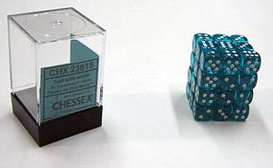 Dice 36D6 Set - Translucent Teal w/White