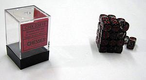Dice 36D6 Set - Translucent Smoke w/Red