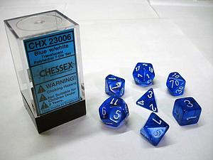 Dice 7-Piece Polyhedral Set - Translucent Blue w/White