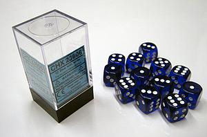 Dice 12D6 Set - Translucent Blue w/White