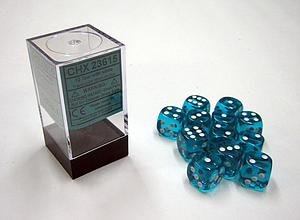 Dice 12D6 Set - Translucent Teal w/White