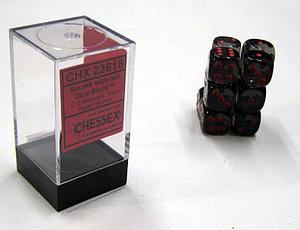 Dice 12D6 Set - Translucent Smoke w/Red