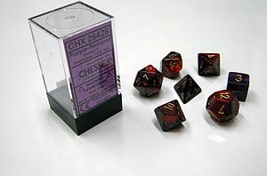 Dice 7-Piece Polyhedral Set - Gemini Purple Red Gold