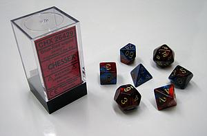 Dice 7-Piece Polyhedral Set - Gemini Blue-Red/gold