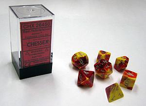 Dice 7-Piece Polyhedral Set - Gemini Red Yellow Silver