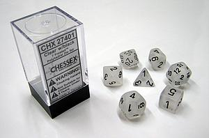 Dice 7-Piece Polyhedral Set - Frosted Clear w/Black
