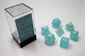 Dice 7-Piece Polyhedral Set - Frosted Teal w/White