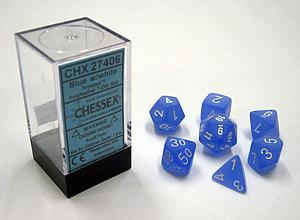 Dice 7-Piece Polyhedral Set - Frosted Blue w/White