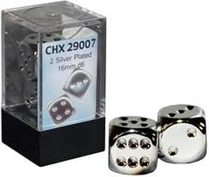 Dice 2D6 Set - Metal Plated Silver